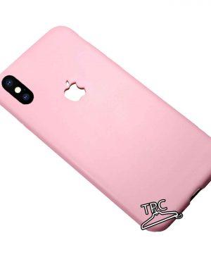 Husa din silicon dens iPhone X logo decupat Pink Mat