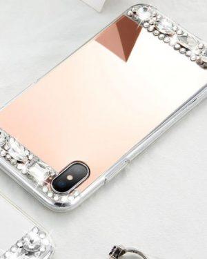 Rosé Arany Tükröződő Rugalmas Műanyag iPhone tok kristályokkal