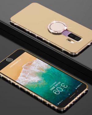 Swarovski típus Kristályokkal Gyűrűtartóval Arany Samsung Tok