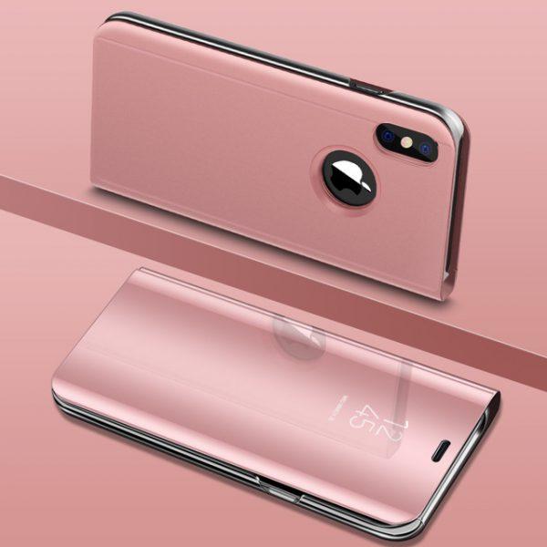 Rózsaszín Kihajthatós Tükrös iPhone Tok