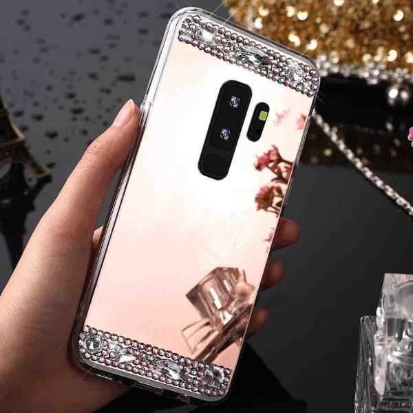 Rosé Arany Tükröződő Rugalmas Műanyag Samsung tok kristályokkal