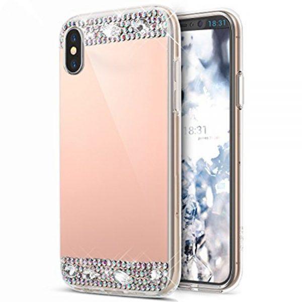 Rosé Arany Tükröződő Rugalmas Műanyag Huawei tok kristályokkal