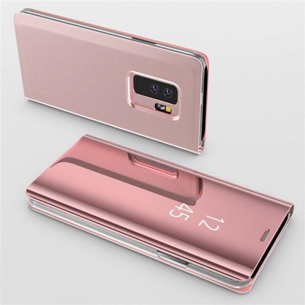 Rózsaszín állvány flip tükör tok a Samsung Galaxy számára