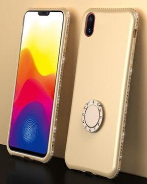 Swarovski típus Kristályokkal Gyűrűtartóval Arany iPhone Tok